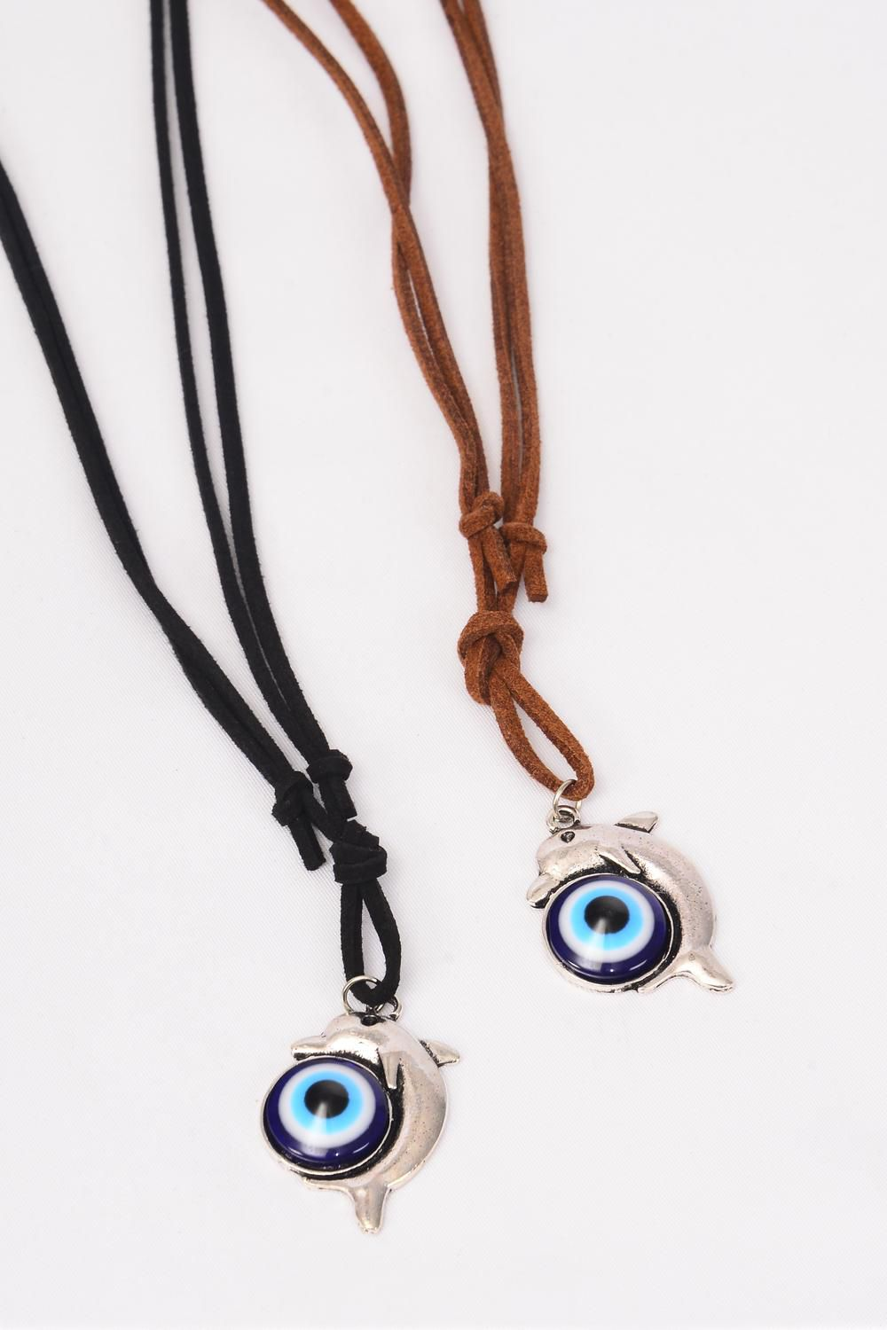 "Necklace Leather Feel Metal Antique Dolphin Blue Venetian Glass/DZ match 02925 Necklace **Adjustable** Owl-1.5""x 1"" Wide,6 BLack,6 Brown Mix,Hang Tag & OPP Bag & UPC Code"