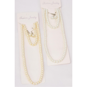 """Necklace Sets for Kids 3 pcs Sets 6 mm Glass Pearls 18 inch Long White & Cream Mix/DZ Size-18"""" Long,Bracelet is Stretch,6 White,6 Cream Mix,Display Card & Opp bag & UPC Code -"""