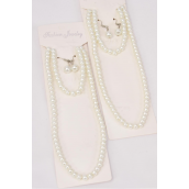 """Necklace Sets for Kids 3 pcs Sets 6 mm Glass Pearls 18 inch Long White/DZ **White** Size-18"""" Long,Bracelet is Stretch,Display Card & Opp bag & UPC Code"""