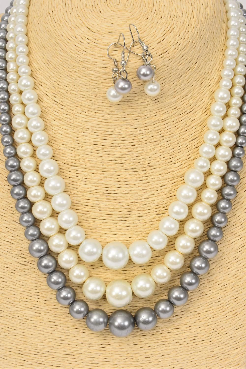 "Necklace Sets Graduate From 16mm Glass Pearls 20 inch Long Natural/DZ **Natural** 20"" Long,4 white,4 Cream,4 Gray,3 Color Mix,Hang Tag & Opp bag & UPC Code-"