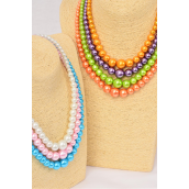 """Necklace Sets Graduate From 16 mm Glass Pearls/DZ 20"""" Long,Choose Colorst,Hang Tag & Opp Bag & UPC Code"""