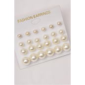 Earrings 12 Pair Cream ABS Pearls Size Mix/DZ **Cream Pearls** Size-2,4,6,8 mm Mix,12 Pair per Card,12 Card= Dozen,Earring Card & Opp bag & UPC Code
