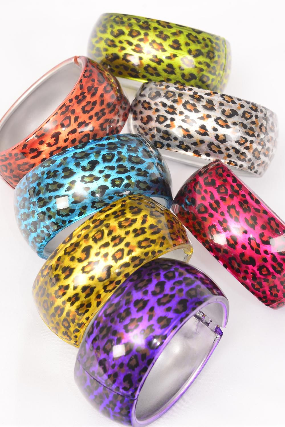 "Bangle Acrylic Hinge Cat-eye Leopard Print/DZ **Hinge** Size-2.75"" x 1.5"" Dia Wide,2 Silver,2 Blue,2 Purple,2 Red,2 Yellow,1 Lime.1 Orange,7 Color Asst,Hang Tag & OPP Bag & UPC -"