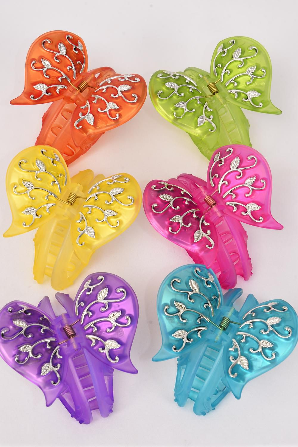 "Jaw Clip Acrylic Pearl Butterfly Silver Trim/DZ Butterfly Size- 3"" x 2.5"" Wide,Jaw Clip-3.5"" Wide,2 of each Color Asst,Hang Card & OPP Bag & UPC Code -"