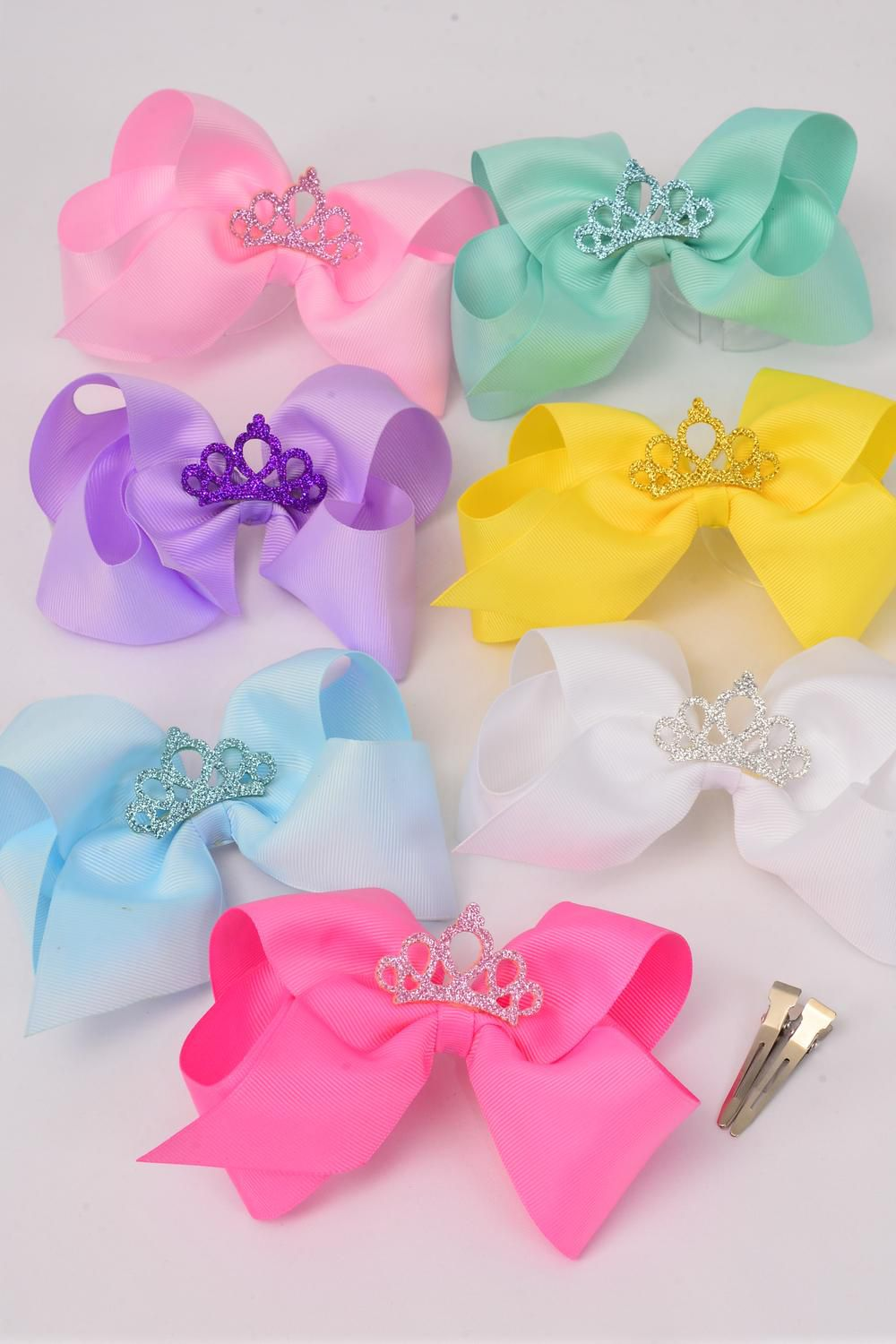 "Hair Bow Jumbo Center Tiara Pastel Grosgrain Bow-tie/DZ **Pastel** Alligator Clip,Size-6""x 6"" Wide,2 White,2 Pink,2 Blue,2 Yellow,2 Lavender,1 Hot Pink,1 Mint Green,7 Color Asst,Clip Strip & UPC Code"