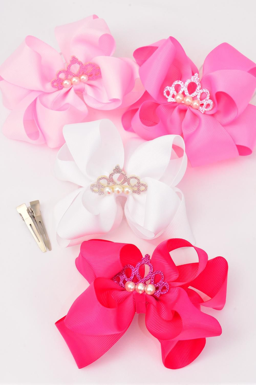 "Hair Bow Jumbo Double Layer Center Tiara Pink Mix Grosgrain Bow-tie/DZ **Pink Mix** Alligator Clip,Size-6""x 6"" Wide,3 of each Color Asst,Clip Strip & UPC Code"