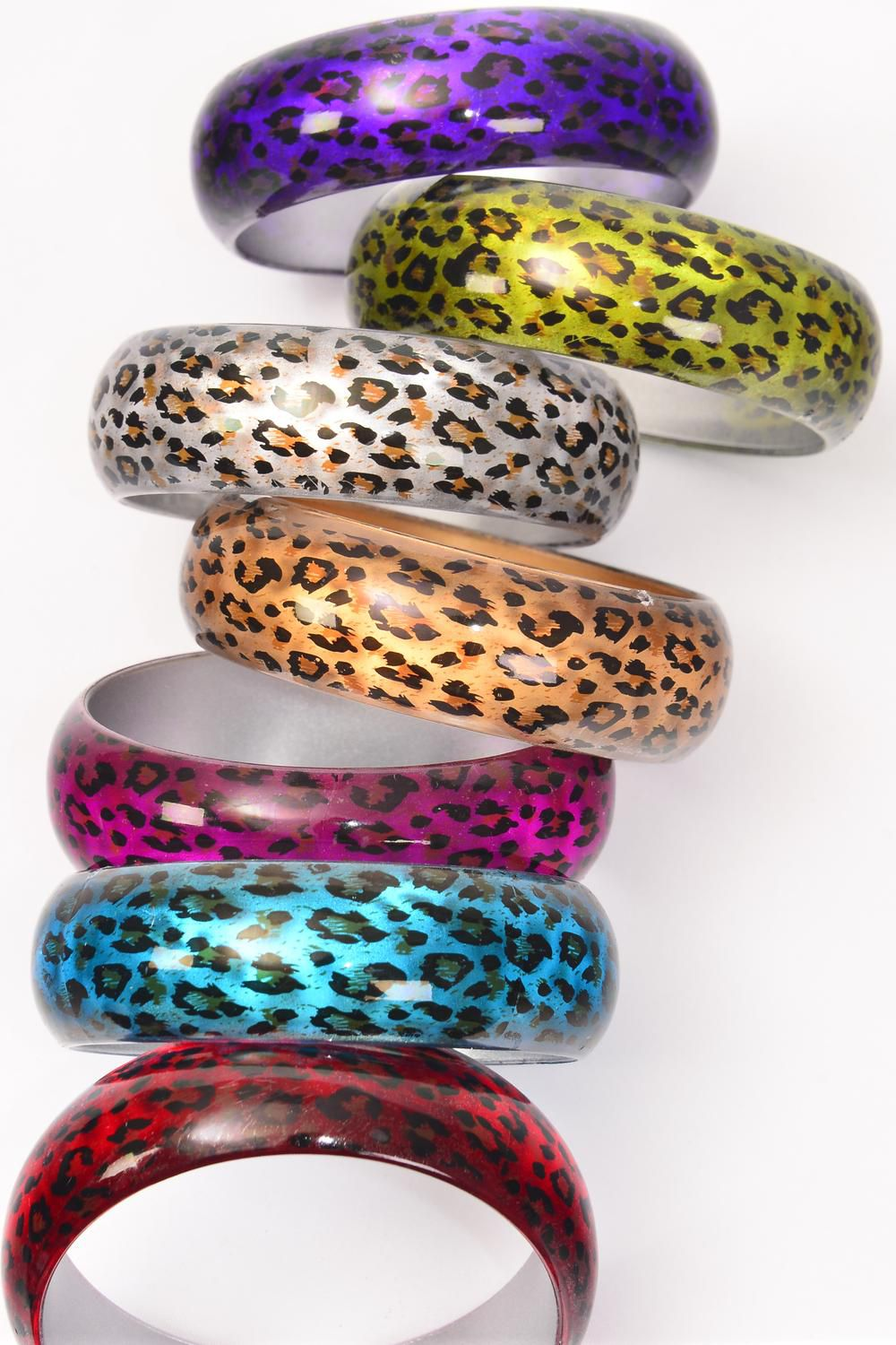 "Bangle Acrylic Cat-eye With Leopard Print/DZ Size-2.75""x 1"" Dia Wide,2 Gold,2 Silver,2 Fuchsia,2 Purple,2 Red,1 Blue,1 Lime,7 Color mix,Hang tag & Opp bag & UPC Code-"