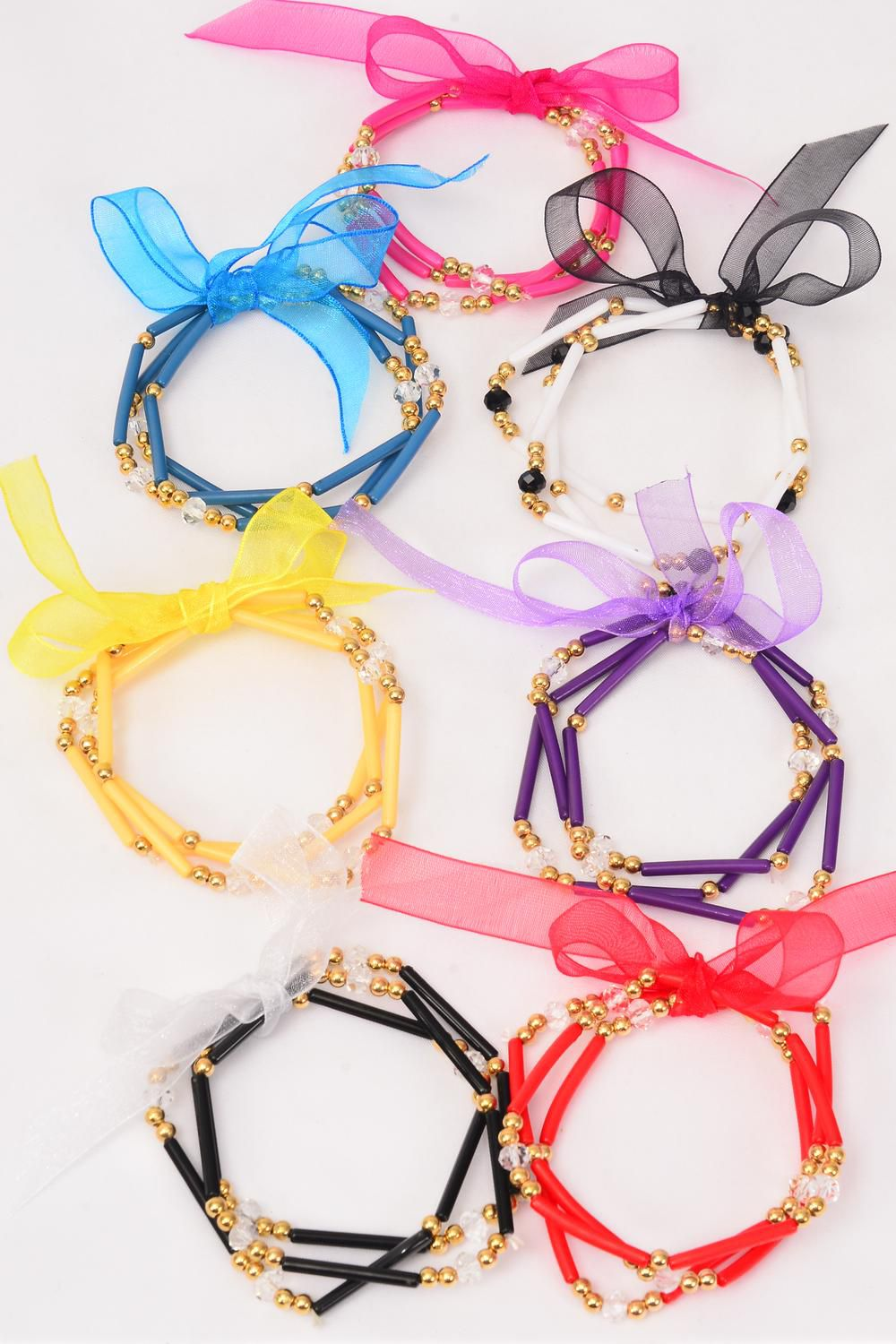Bracelet 3 Strend Beads & Glass Crystal  Mix Ribbons/DZ **Stretch** 2 Blue,2 Black,2 White,2 Fuchsia,2 Red,1 Purple,1 Yellow,7 Color Asst,Hang tag & OPP bag & UPC Code -