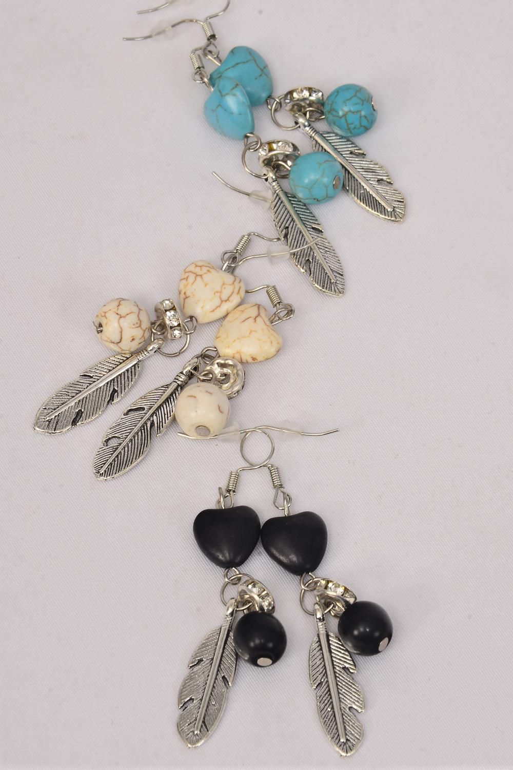 "Earrings Metal Antique Feather & Hearts Semiprecious Stone/DZ **Fish Hook** Size-1.25""x 0.75"" Wide,4 Black,4 Ivory,4 Turquoise Asst,Earring Card & OPP Bag & UPC Code -"