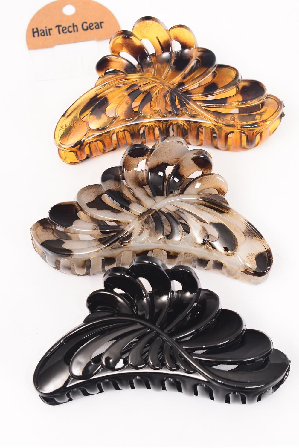 Jaw Clip Acrylic 14 cm Wide Leaf  Black & Tortoise Leopard Mix/DZ Size-14 cm Wide,4 Black & 4 Tortoise & 4 Leorpard Mix,Hang Tag & OPP bag & UPC Code
