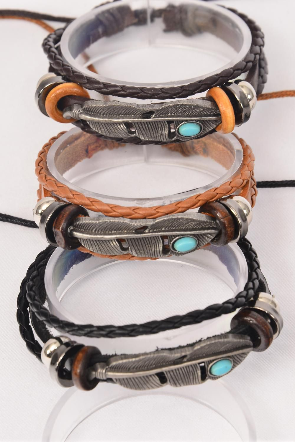 Bracelet Real Leather Band & Feather Triple Strand/DZ **Unisex** Adjustable,4 of each Color Mix,Individual Hang tag & OPP Bag & UPC Code
