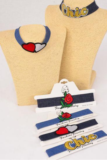 Necklace Choker Blue Denim Embroidered PATCHES & Wide Denim Band/DZ