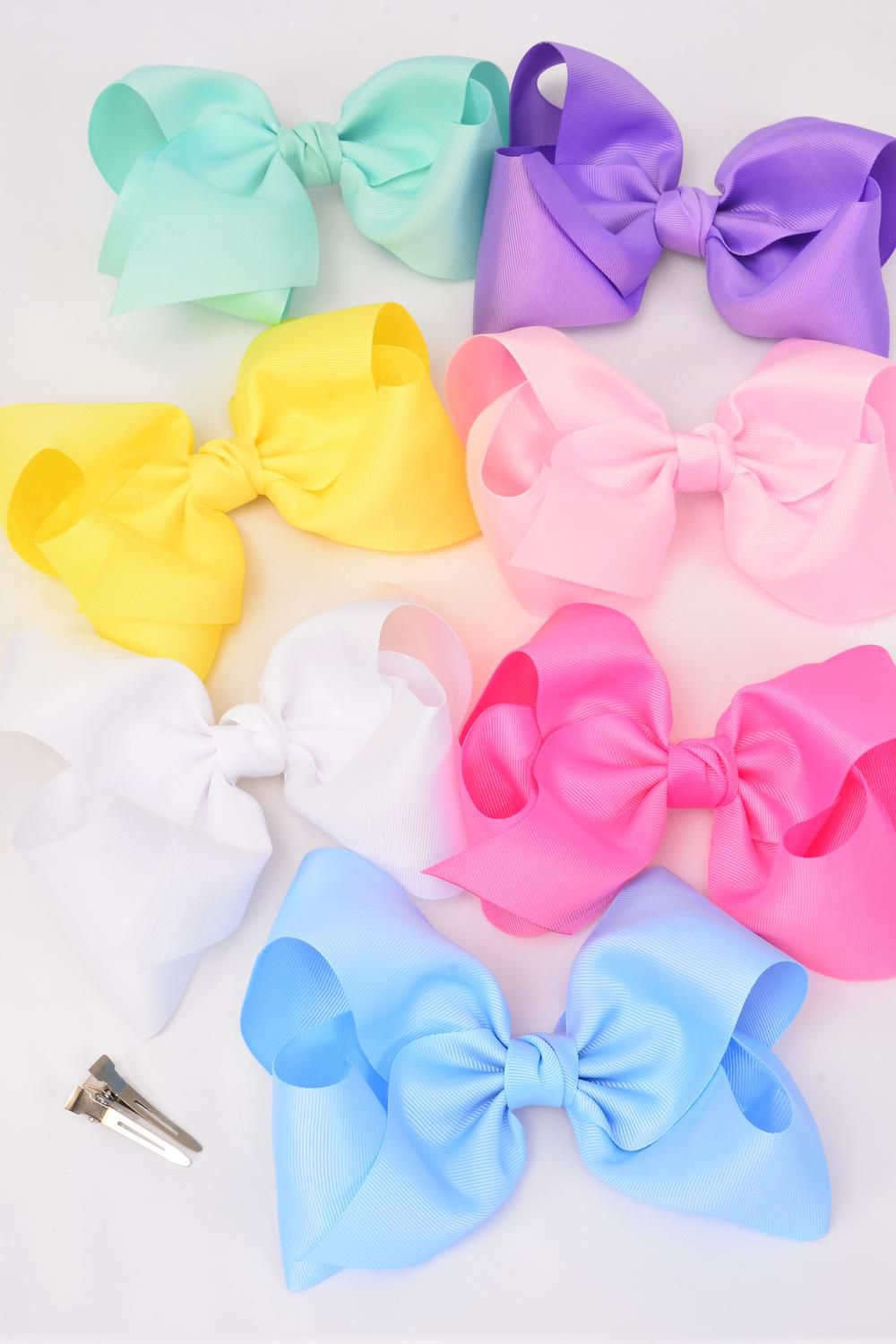 hair bow cheer type bow pastel alligator clip grosgrain. Black Bedroom Furniture Sets. Home Design Ideas