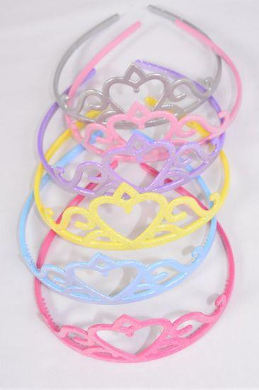 Headband TIARA Acrylic Glitter Pastel Color Asst/DZ