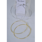 "Earrings Metal Hoop 3.5"" Wide/DZ Size-3.5"" Wide,Choose Gold or Silver Finish,Earring Card & OPP bag & UPC Code - 3.5"" wide"