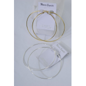 "Earrings Metal Hoop 8cm Wide/DZ Size-3"" wide,Earring Card & OPP Bag & UPC code,Choose Gold or Silver finish - 3.25"" wide"