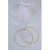 "Earrings Metal Hoop 7cm Wide/DZ Size-2.75"" Wide,Earring Card & OPP Bag & UPC code,Choose Gold or Silver finish - 2.75"" Wide"