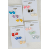 "Earrings 3 Pair Italian Poly W Metallic Finish/DZ **Post** Size-0.25""x 0.5"" Wide,3 of each Color Asst,Earring Card & Opp bag & UPC Code,3 pair per Card,12 card=Dozen -"