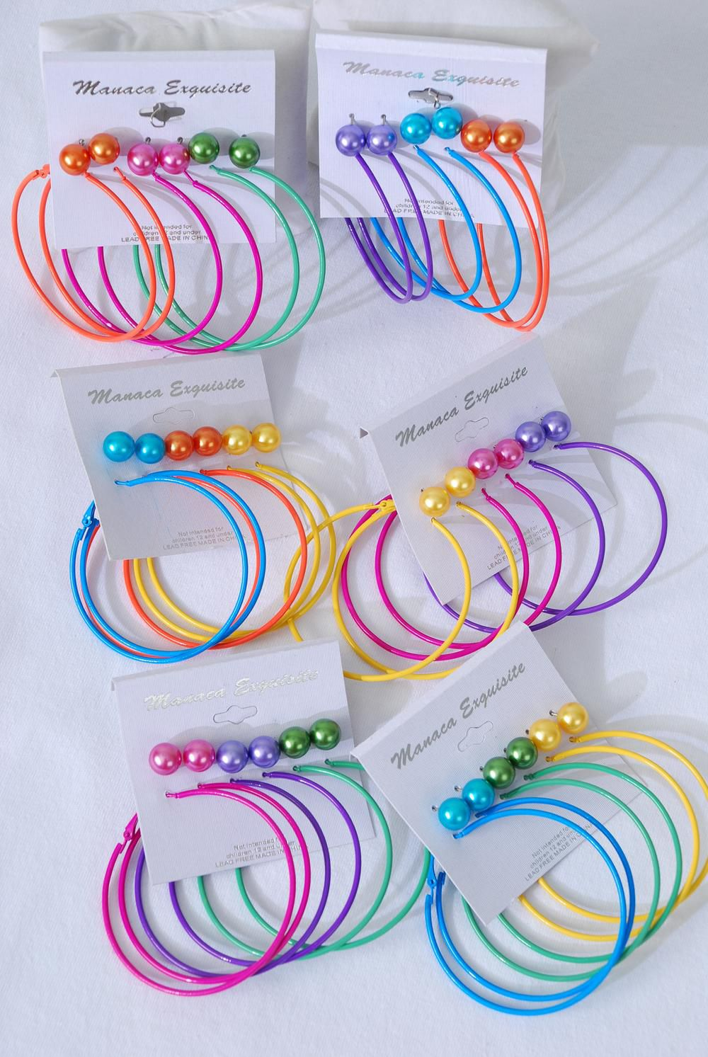 "Earrings 6 pair 10 mm Color Pearl & 2.25"" Color Loops Mix/DZ **Post** 2 of each Color Mix,each Card has 6 pair Earrings,12card=Dozen,Earring card & Opp bag & UPC Code -"