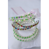 2pcs Small Tennis Bracelet for Kids Ribbon Stretch/PC **Solid Lime Green** Stretch,Hang Tag & OPP Bag & UPC Code