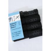 "Magnetic Snap On Rollers 8ct XLarge Black/DZ **Black** XL Size-1 1/4"" Dia Wide,8ct Per Pack,12Pack=Dozen"