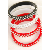 Plus Size Bangle Acrylic W 3line Stones  Red Wh Bk Mix/DZ **Plus Size**  4 Red 4 White 4 Black Mix,each has Hangtag & OPP bag & UPC Code