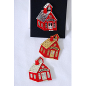 "Brooch Enamel School House/PC Size-2.5""x 1.75"" Wide, Velvet Display Card & Opp Bag & UPC Code,Choose Gold Or Silver Finishes"