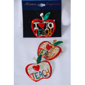 "Brooch Enamel Apple I Love To Teach/PC Choose Gold Or Silver Finish,W Velvet Display Card & OPP Bag & UPC code - 1.6""x1.5"" Wide"