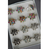 "Rings Turtle Metal Color Rhinestones Adjustable/DZ **Adjustable** Size- 1.25""x1"" Wide,6 multi,2 Clear,2 AB Clear,2 Black,4 Color mix,1Dozen Display Box W UPC Code -"