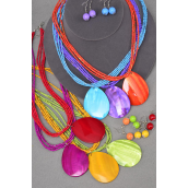 "Necklace Sets Seashell Pendant Teardrop  W Indian Beads/DZ match 02000 **Citrus** Size-18"", Pendant Size-2""x 1.75"" Wide,2 Red,2 Yellow,2 Purple,2 Fuchsia,2 Blue,1 Lime,1 Orange,7 Color Mix, Hang Tag & OPP bag & UPC Code"