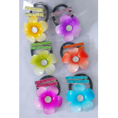 "Hair Ties Flower & Alligator Clip Infinity Stones/DZ Flower Size-2.5"" Wide, Alligator Clip,2 of each Color Asst,Individual Display Card & Opp Bag & UPC Code,12card=Dozen -"
