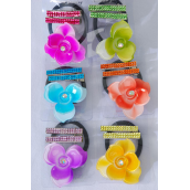 "Hair Ties Elastic Flower & Alligator Clip Infinity Stones/DZ Flowee Size-2.25"" Wide, Alligator Clip,2 of each  Color Asst,Individual Display Card & Opp Bag & UPC Code,12card=Dozen"