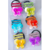 "Hair Ties Elastic Butterfly & Alligator Clip Infinity Stones/DZ Butterfly Size-2.5""x 2"",Alligator Clip,2 of each Color Asst,Individual Opp Bag & UPC Code,12 card=Dozen"