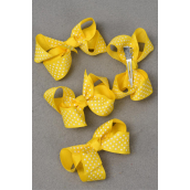 "Hair Bow For Kids Grosgrain Bow-tie Mini Polka Dots Yellow/DZ **Yellow** Alligator Clip, Size-3""x 2"" Wide,Display Card & OPP Bag -"