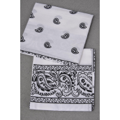 "Bandanna White 100% cotton/DZ **White** Size-21""x 21"" Wide,W OPP bag -"