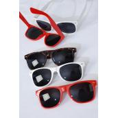 Sunglass Wayfarer Look  Pre Color Lens & Frames Asst/DZ **Good Quaility** 5 Tortoise,4 Red,3 White, 3 color Pre Mix