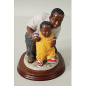 "Figurine Dad w Kid Wooden Base/PC Size-5""x 4""x 6"" Wide,With Box"