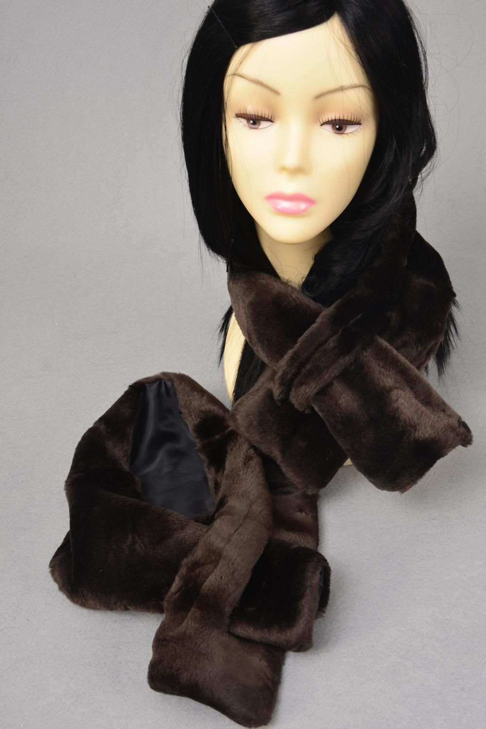 "Women's Plush Faux Fur Scarf/PC Size-36""x 5.5"" Wide, OPP Bag"