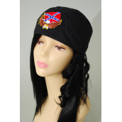 Tie-down Cap Black Rebel W Eagle  Embroidery/DZ **100% Cotton** Good Quality,With Hang tag & OPP Bag & UPC Code                                                          -