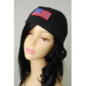 Tie-down Cap Black USA Flag Embroidery/DZ **USA Flag** 100% Cotton,Good  Quality,W Hang tag & OPP Bag & UPC Code