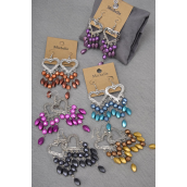 "Earrings Heart Chandliar Look Matt Finish/DZ **Fish Hook** Size-3""x 1.5"" Wide,2 of each Color Asst, Earring Card & OPP Bag & UPC Code -"