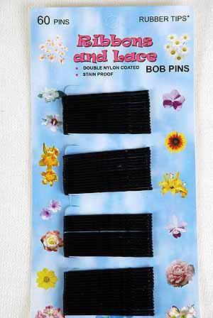 "Bobby Pins Black Tips 60 ct/DZ Size-1.75"" Long,each card have 60 ct,12 card=Dozen,UPC Code"