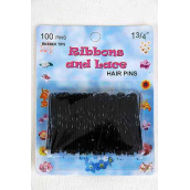 "Hair Pins Black Tips 100 ct/DZ Size- 1.75"" Long,each card have 100 pcs,12 Card=Dozen,OPP Bag & UPC Code"