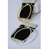 "Earrings Boutique Hoop 2.5"" Wide Rhinestones/PC Size-2.5"" Wide,Choose Gold Or silver finis,Black Velvet Earring Card & OPP Bag & UPC Code -"
