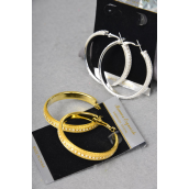"Earring Boutique 4 cm Mesh Loop W Rhinestones/PC **Post** Size-1.5""x1.5"" Wide,Display Card & OPP Bag & UPC Code,Choose Gold Or Silver Finish"