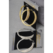 "Earring Boutique Loop 1.75"" Wide Design W Rhinestones/PC Size-1.75"" Wide,Earring card & OPP Bag & UPC Code,Choose Gold Or Silver Finish -"