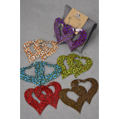 "Earrings Metal  Heart Leopard Print/DZ ** Fish Hook** Size-2.5""x 2.75"" Wide,2 of each Color Asst,Earring Card & OPP bag & UPC Code"