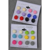 Earrings 6 pair 14mm Poly Color Balls/DZ **Post** Pre Color Mix,each card has 6pair Earrings,12card=Dozen,Earring Card & OPP bag & UPC code -