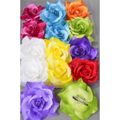"Silk Flower Jumbo 2 tone Rose Multi Alligator Clip/D **Multi** Size-5.5"" Wide,Alligator Clip & Brooch,2 Fuchsia,2 White,2 Blue,2 Yellow,1 Purple,1 Red,1 Lime,1 Orange mix,Hang Tag & UPC Code,W Clear Box"