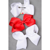 "Hair Bow Jumbo Red & White Mix 6""x 5"" Wide Grosgrain Bow-tie/DZ **Red & White Mix** Alligator Clip** Size-6""x 5"" Wide,6 Red & 6 White Mix,Clip Strip & UPC Code"